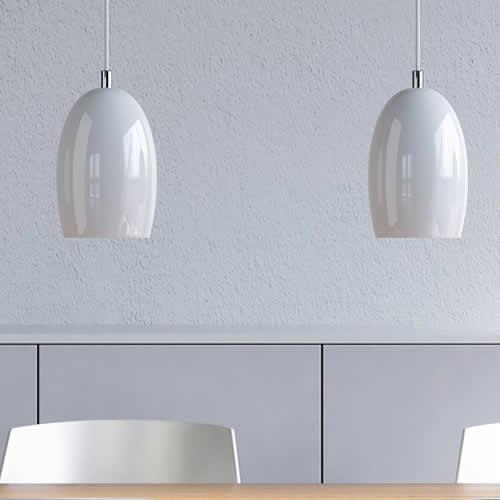 Design Hanglamp Keuken : hanglampen glas wit eettafel