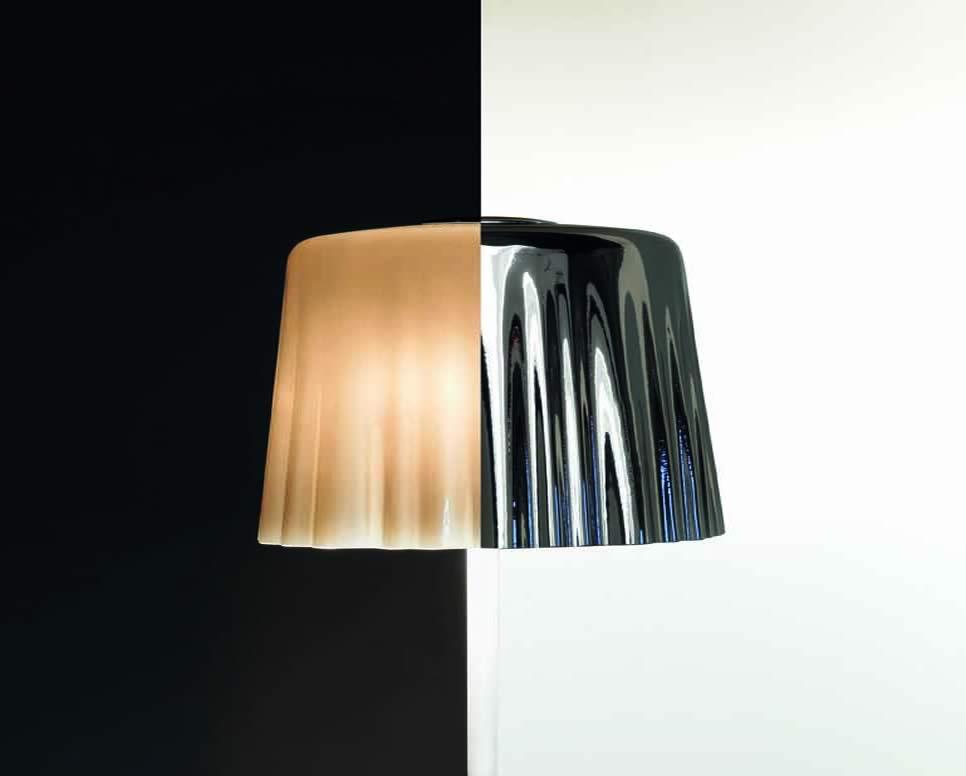 Klassieke staande lamp van glas in het wit en chroom - Klassieke vloerlamp ...