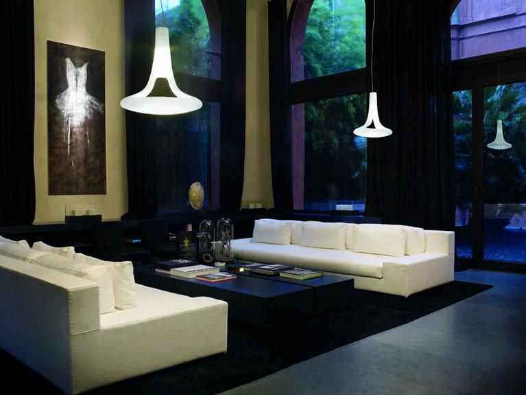 grote exclusieve staande lamp van wit satinglas, Meubels Ideeën
