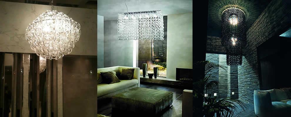 Kristal hanglamp en glas kroonluchter