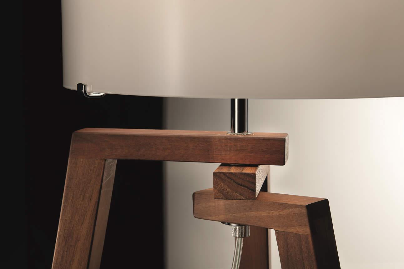 Vloerlamp Hout Landelijk : Vloerlamp houten driepoot met glas