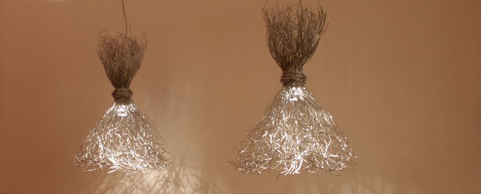 Spetterende design hanglampen aluminium draad