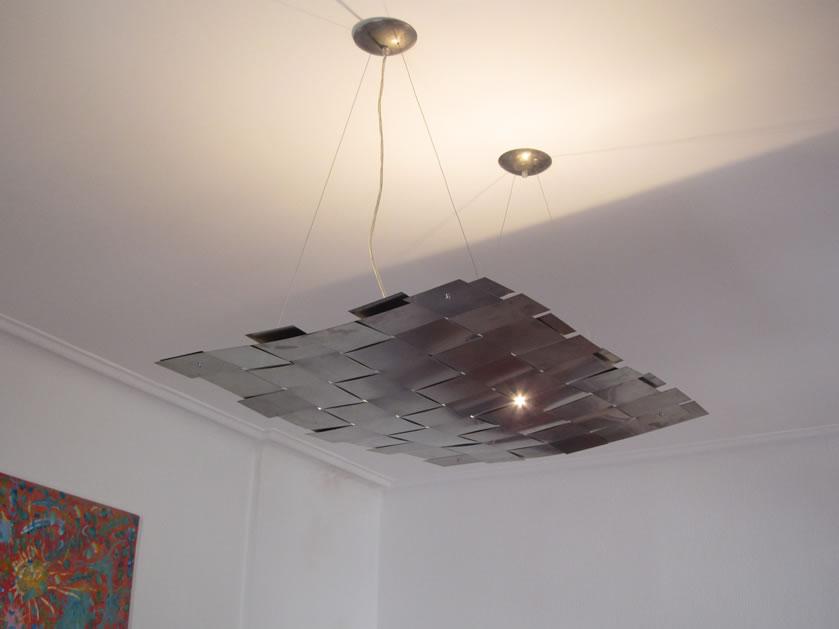 Plafondverlichting Woonkamer : Hanglamp en plafondlamp rvs - design ...