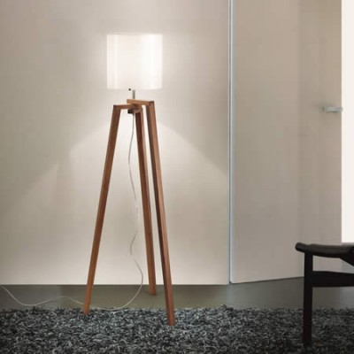 Houten staande driepoot leeslamp en vloerlamp met glas